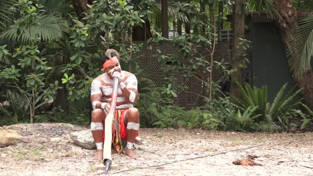 indigenous australian man playing aboriginal music on didgeridoo instrument - ブーメラン点の映像素材/bロール