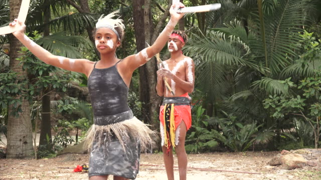 Indigenous Australians People dancing in Queensland Australia