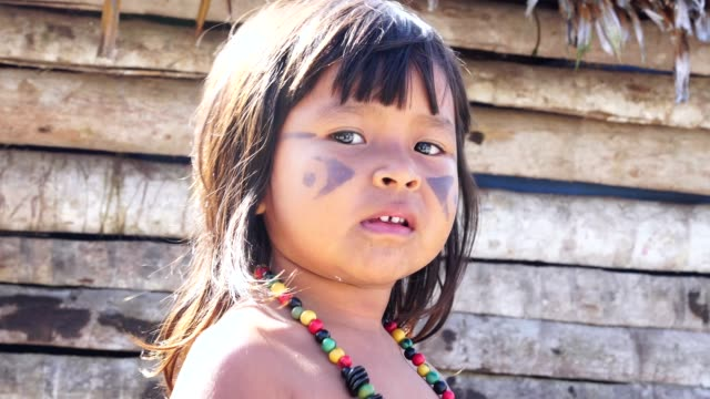 indigenous brazilian child, portrait from tupi guarani ethnicity - native american ethnicity stock videos and b-roll footage