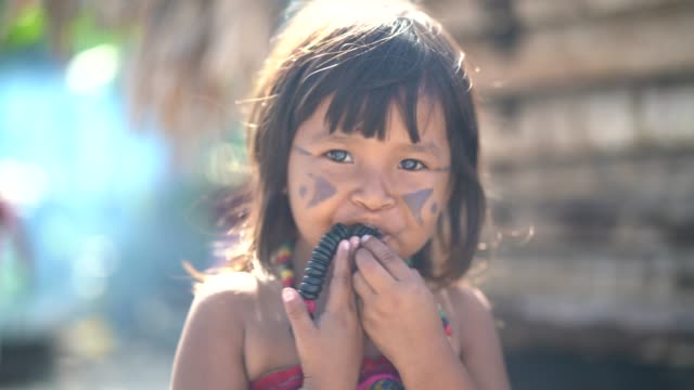 indigenous brazilian child, portrait from tupi guarani ethnicity - shy stock videos & royalty-free footage