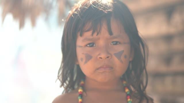 Indigenous Brazilian Child, Portrait from Tupi Guarani Ethnicity