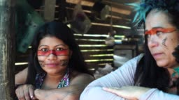 Indigenous Brazilian Friends at Home from Guarani Ethnicity