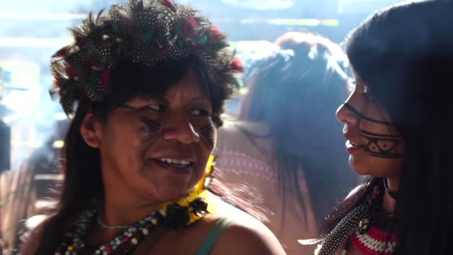 indigenous brazilian mother and daughter portrait, from tupi guarani ethnicity, in a hut - history stock videos & royalty-free footage