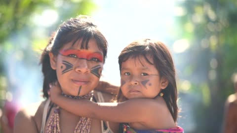indigenous brazilian sisters, portrait from tupi guarani ethnicity - small stock videos & royalty-free footage