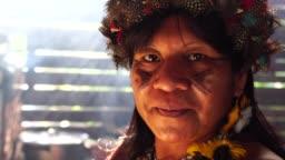 Indigenous Brazilian Woman Portrait, from Tupi Guarani Ethnicity, in a Hut