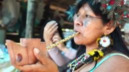 Indigenous Brazilian Woman Smoking Pipe, from Guarani Ethnicity