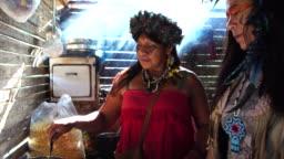 Indigenous Brazilian Women, from Guarani Ethnicity, Cooking