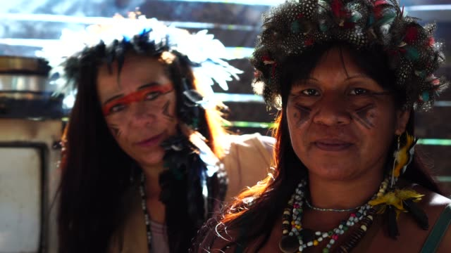 観光ドレッシングと先住民族のブラジル人女性のように先住民グアラニー語民族性から