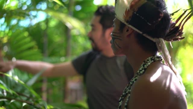 vídeos de stock, filmes e b-roll de jovem brasileiro indígenas da etnia guarani, mostrando a floresta tropical para turista - índio americano