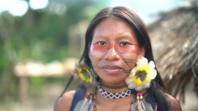 indigenous brazilian young woman, portrait from guarani ethnicity - customs stock videos & royalty-free footage