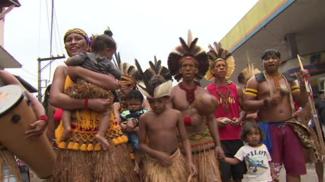 indigenous brazilians marching on the oneyear anniversary of the brumadinho dam disaster - minority groups stock videos & royalty-free footage