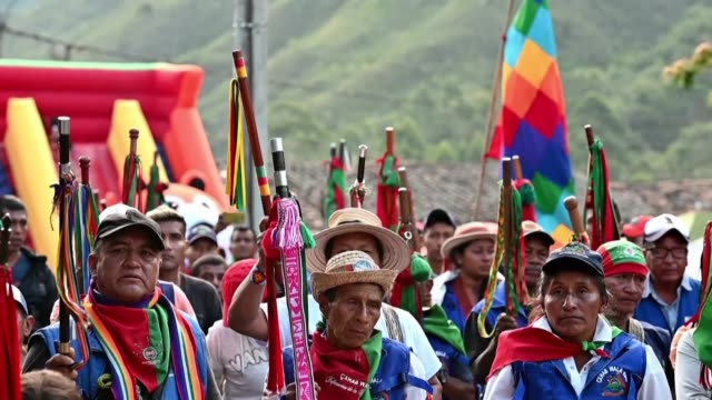 vídeos de stock, filmes e b-roll de indigenous communities in colombia lead members on a long walk to meet with other communities after two of their leaders were murdered in the... - southwest usa