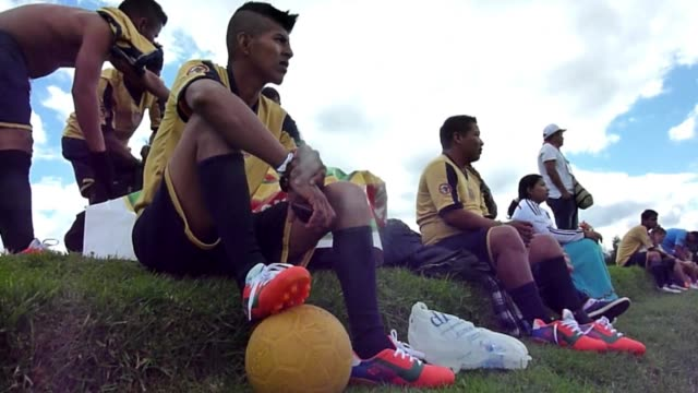 indigenous footballers from the amazon region of colombia took part in one of the qualifying stages to be picked for a team that will participate in... - qualification round stock videos & royalty-free footage