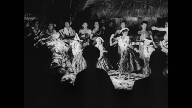 indigenous native people hawaiian dancers women young girls dancing hula in flower leis grass skirts for tourists sitting fg polynesian culture... - polynesian culture stock videos and b-roll footage