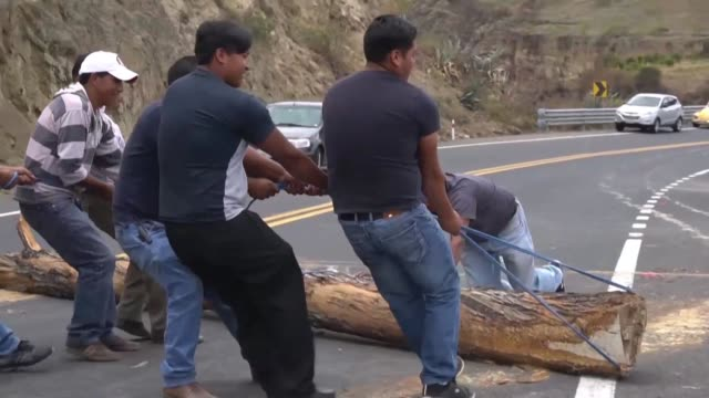 indigenous people and farmers in pambamarquito ecuador block roads with tree trunks to protest against rising fuel prices due to the government... - ecuador stock videos & royalty-free footage