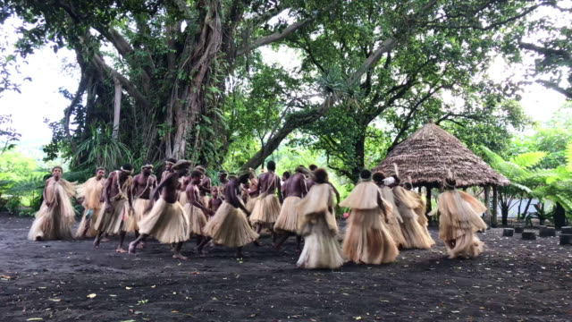 indigenous tribe tanna island rainforest vanuatu village community dance 4k video - pacific islanders stock videos & royalty-free footage