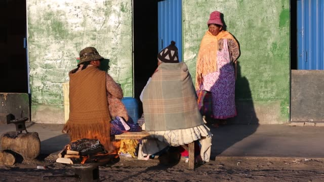 indigenous women at a street market in el alto, la paz, bolivia, south america, in traditional dress. - la paz region la paz stock-videos und b-roll-filmmaterial