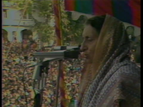 indira gandhi addresses a rally during the elections in new delhi, india. - (war or terrorism or election or government or illness or news event or speech or politics or politician or conflict or military or extreme weather or business or economy) and not usa stock videos & royalty-free footage