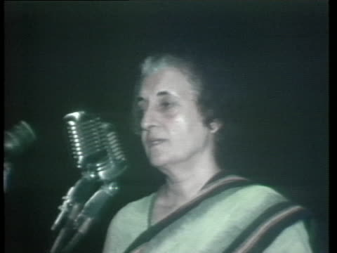 indira gandhi speaks at a political rally in new delhi, india. - (war or terrorism or election or government or illness or news event or speech or politics or politician or conflict or military or extreme weather or business or economy) and not usa stock videos & royalty-free footage