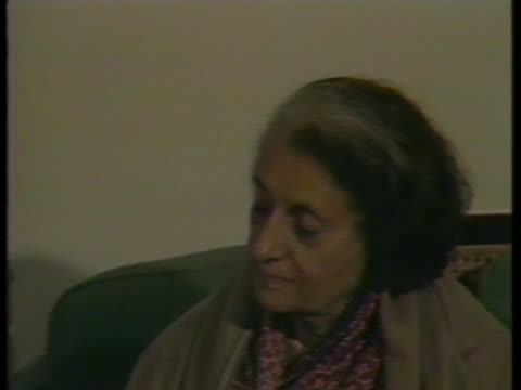 indira gandhi speaks during an interview, denying she ran an authoritarian government. - (war or terrorism or election or government or illness or news event or speech or politics or politician or conflict or military or extreme weather or business or economy) and not usa stock videos & royalty-free footage