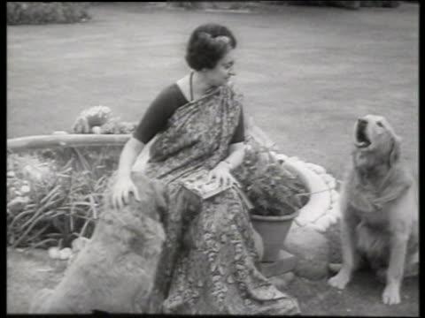 b/w indira gandhi with dogs in garden / 1960's / sound - indira gandhi stock videos & royalty-free footage