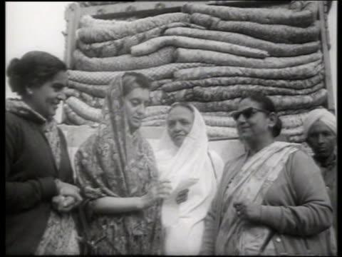 b/w indira gandhi with group of women / 1960's / sound - indira gandhi stock videos & royalty-free footage
