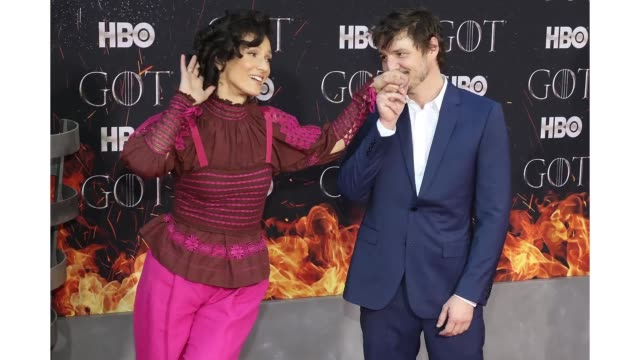 Indira Varma and Pedro Pascal attend the premiere of 'Game of Thrones' at Radio City Music Hall on April 3 2019 in New York City