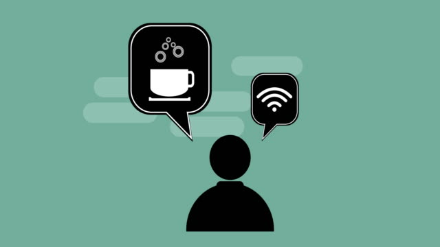 Individuals need coffee and wifi.Video animation