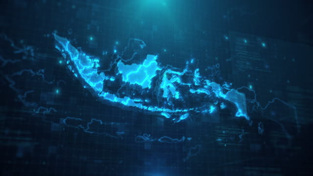 indonesia map against blue animated background 4k uhd - indonesia stock videos & royalty-free footage