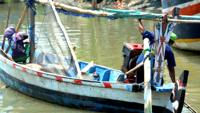 indonesian local traditional wooden fishing boats java indonesia - probolinggo stock videos & royalty-free footage