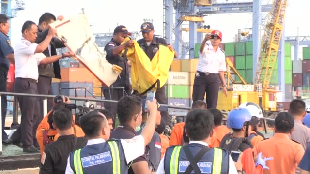 indonesian officials recover the bodies of plane crash victims and collect the remains of the crashed lion air jt 610 plane at tanjung priok port in... - wreck stock videos & royalty-free footage