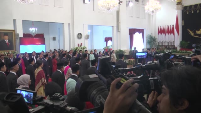 indonesian president joko widodo leads the inauguration of new indonesia onward cabinet ceremony at merdeka palace, in jakarta, indonesia on october... - co ordination stock videos & royalty-free footage