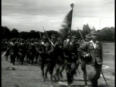 indonesian soldiers marching flag la cu troops marching ws soldiers marching w/ rifles japan occupation indonesia wwii - marching stock videos and b-roll footage