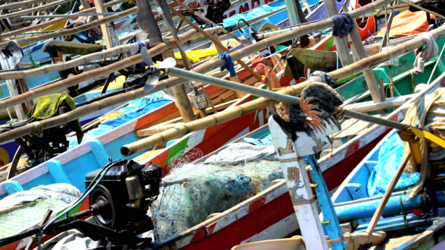 indonesian traditional wooden fishing boats moving java indonesia - probolinggo stock videos & royalty-free footage