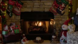 Indoor Christmas Scene with a Fire Place