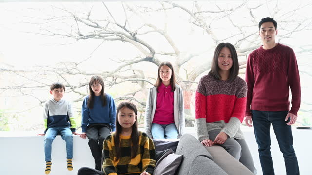 indoor portrait of east asian family with four children - 12 13 years stock videos & royalty-free footage