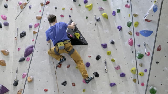 indoor rock climbing - rope stock videos & royalty-free footage