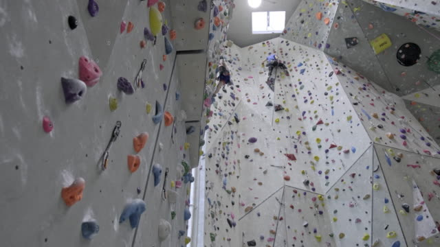 indoor rock climbing - climbing equipment stock videos & royalty-free footage