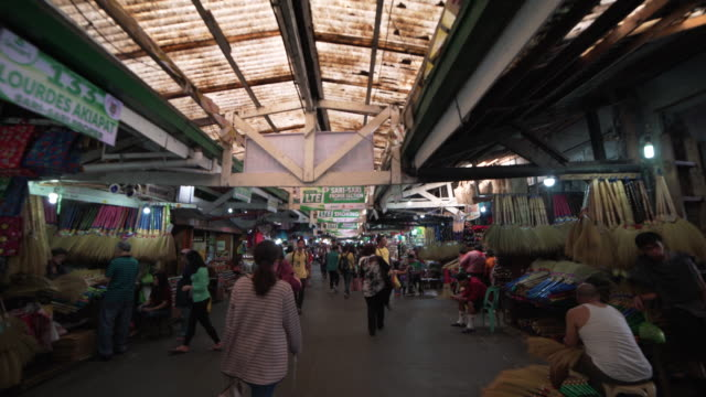 indoors market at philippines, baguio. steadicam shot - following stock videos & royalty-free footage