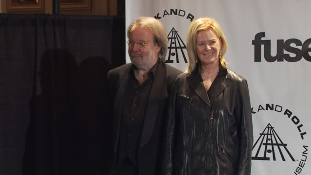 Inductees Benny Andersson and AnniFrid Prinsessan Reuss of ABBA at the 25th Annual Rock And Roll Hall Of Fame Induction Ceremony Press Room at New...