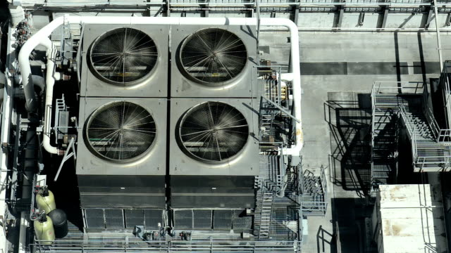 industrial air conditioner fans on rooftop of building - air duct stock videos & royalty-free footage