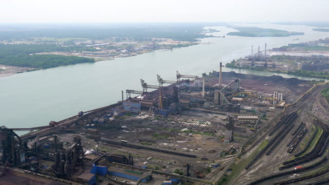 ws aerial pov industrial area at zug island / detroit, michigan, united states - island stock videos & royalty-free footage