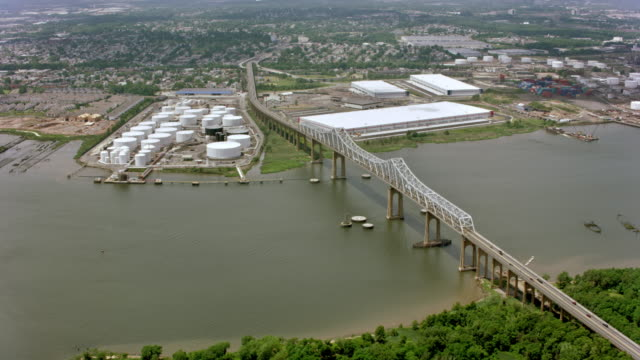 aerial industrial area in ney jersey - industrial district stock videos & royalty-free footage