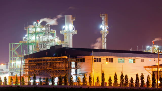 Industrial Boiler at Oil Refinery Plant twilight Time Lapse