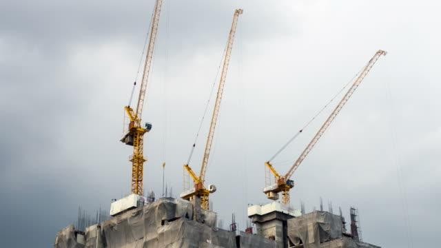 Industrial building construction, timelapse