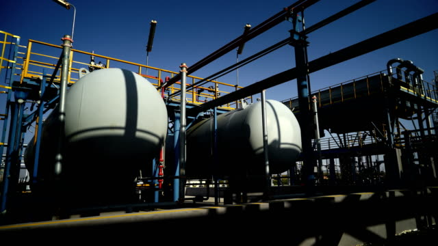 industrial building-lng oil gas equipment - storage tank stock videos & royalty-free footage