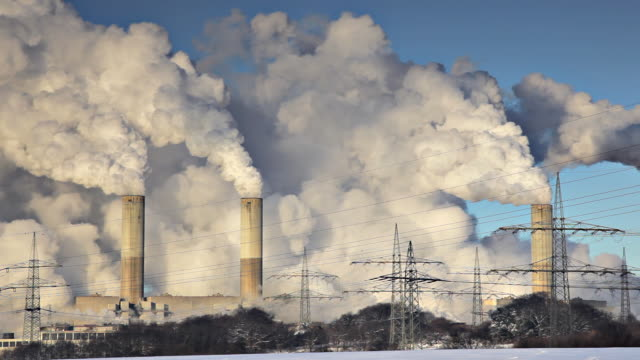 industrial chimneys - air pollution stock videos & royalty-free footage