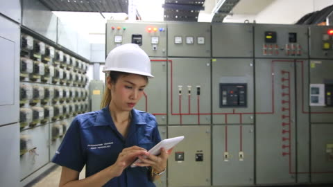 industrial engineer writing report by tablet pc. - control panel stock videos & royalty-free footage