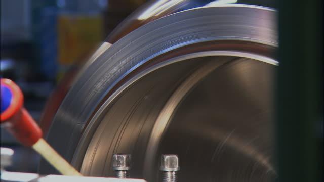 cu industrial equipment in motion, working process on metal / slovenia - metall stock-videos und b-roll-filmmaterial
