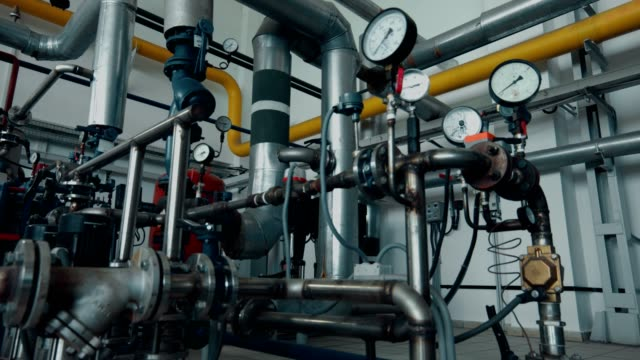 industrial equipment in the technical premises of a large plant - boiler stock videos & royalty-free footage